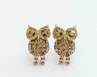 2017039#VINTAGE  COLLECTION_CRYSTALS owl earrings Bling Bling