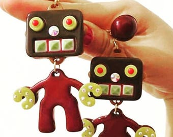 2017065#VINTAGE COLLECTION_Funny Robot Earrings