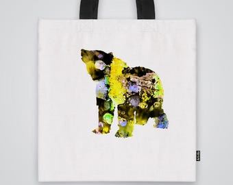 Bear Tote Bag Shoulder Bag Market Bag Art Print