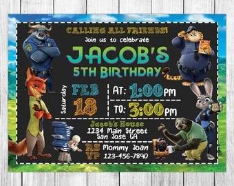 Zootopia Invitation, Zootopia Birthday, Zootopia Invites, Zootopia Party, Zootopia Printable, Zootopia Custom, Zootopia Evite, Zootopia Card