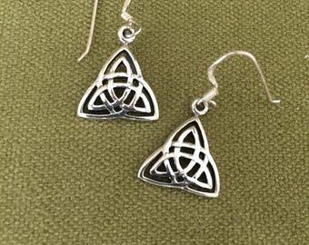 Sterling Silver earrings, Celtic knot, trinity