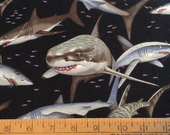 Great White Shark cotton fabric by the yard