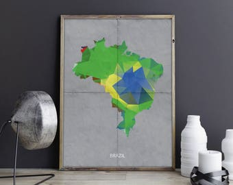 Brazil Art Brazil Wall Art Brazil Wall Decor Brazil Photo Brazil Print Brazil Poster Brazil Map Country Map Watercolor Map Country Map Print