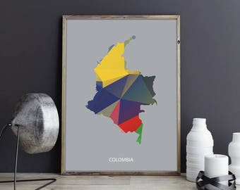 Colombia Art Colombia Wall Art Colombia Wall Decor Colombia Photo Colombia Print Colombia Poster Colombia Map Country Map Watercolor Map