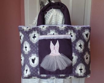 Purple Ballerina Ballet Tutu Pocket Quilted Tote Bag Purse