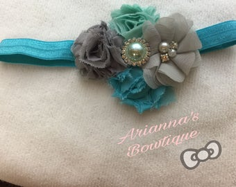Grey, Royal and River blue Shabby Chiffon Flower Headband