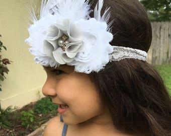 White and Gray Flower Headband w/white feathers