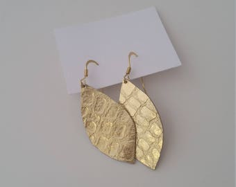 Small Gold Leather Earring