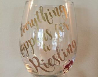 """Set of 3 stemless """"Wine"""" wine glasses"""