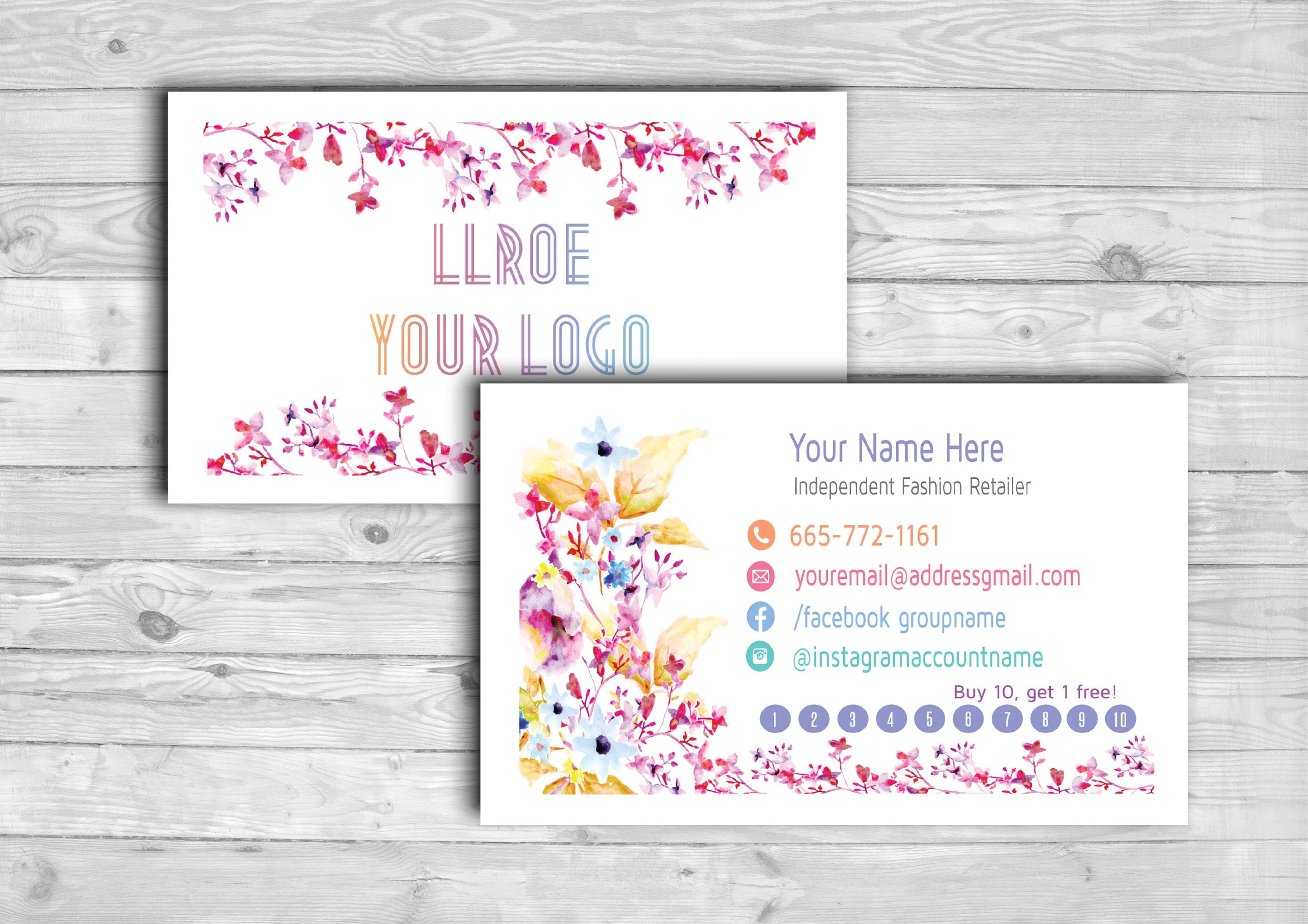 Llroe Business Punch Cards Home Office Approved Colors And Font Flora From Fastproofdigital On
