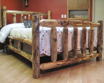 Handmade Log Bed with lots of natural character,  built to last