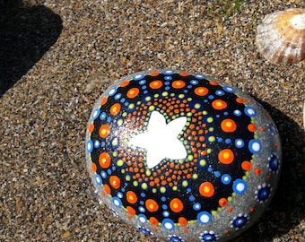 """Mandala Hand Painted Pebbles ~ Meli number 5 """"Summer at the beach"""" ~ Unique Gifts/Presents ~ Home Decor~Dot Art Painted Rocks ~ Meditation"""