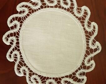 Hand embroidered Renaissance style wedding favors Center-Ecru