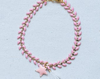 Bracelet was pastel pink, Star and Pompom - Collection * Divine in me *.