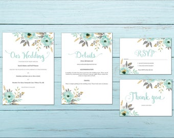 Mint and Gold Flower Printable Wedding Invitation Set