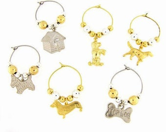 Dogs Drink Charms, Wine Glass Charms