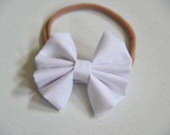 Nylon headband-White bow