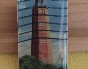 Virginia Lighthouse Postage Stamp Pendant