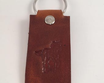 Genuine Leather Key Chain - Running Horse