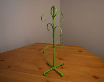 Vintage olive green mug tree with 6 hooks made in Japan