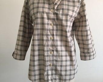Tan with Black Check Pattern Button Down Boyfriend Shirt