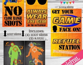 Nerf party signs, nerf party, nerf digital, nerf printables