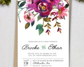 Bohemian Wedding Invite Set, Floral Wedding Invitations, Watercolor, Rustic Invite, Printable Wedding Invitation set, Calligraphy floral
