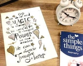 Imagine Better - JK Rowling Quote Print
