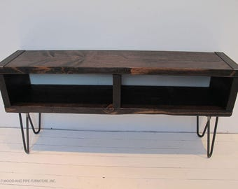 Media Console with Reclaimed Wood,Industrial Wood Media Console,Media Console with Hairpin Legs