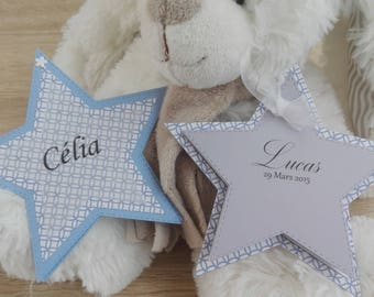 Share birth or baptism - star - blue white grey