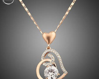 Rose Gold Platted & Crystals Heart Necklace