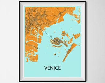Venice Map Poster Print - Orange and Blue