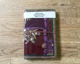 Purple embroided Indian patchwork diary (handmade recycled paper)