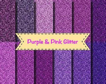 "Purple and Pink glitter background papers scrapbooking invitation wedding party Frozen 12x12"" Magenta 12 colours"