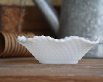 Vintage Milk Glass Candy Dish Diamond Pattern