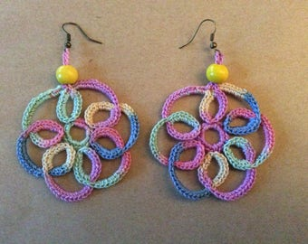Pastel rainbow swirl crochet earrings