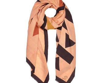 Handwoven scarf, Hand printed scarf, Block printed scarf, Natural dye scarf, Eco friendly scarf