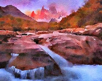 Patagonia Original Watercolour Painting Q325