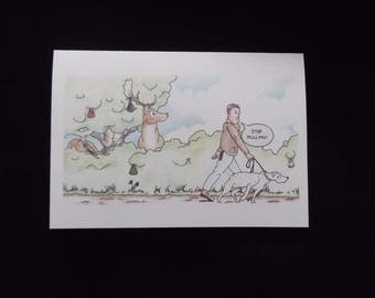 The Inconsiderate Dog Walker Humorous/Funny/Comic Greeting Card