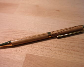 Zebra Wood Pen with Gold Accents
