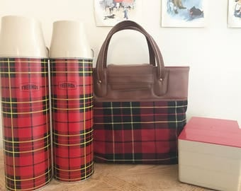 Red Plaid Picnic Set-Vintage Thermos Set- Thermos Picnic Set-Two Thermos Set-Vintage Picnic Bag