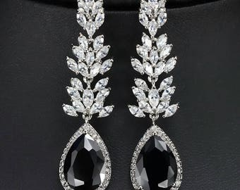 SALE Black & White Zirconia Bridal Earrings, Free Shipping.