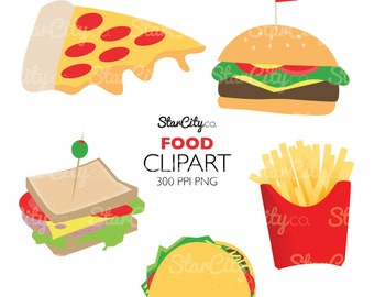 Food clipart, Pizza Clip Art, Food Graphics, Cheeseburger clipart, French Fry clipart, Taco clipart, Commercial Use, instant download