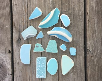 Authentic SEA POTTERY in Shades fourteen Shades of turquoise