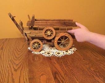 Oak Buckboard Wagon with Brass Spokes