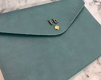 Personalised Monogram Leather Envelope Clutch in Light Blue with detachable wrist strap and shoulder strap