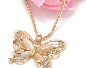 Elegant rose gold opal butterfly necklace