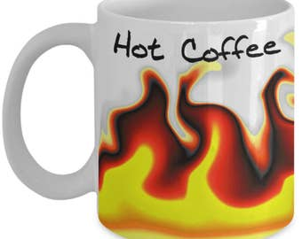 hot coffee mug - mug on fire - flames mug