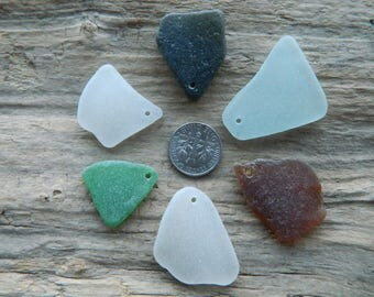 6 Drilled Sea Glass Pendant Pieces