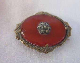 Antique Victorian Fancy Agate Marcasite